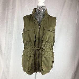 J Crew Womens L Green Chino Vest Jacket